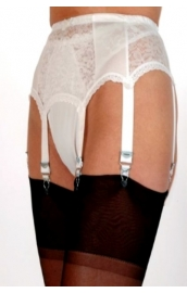 NDL1 6 strap suspender belt with lace panels*